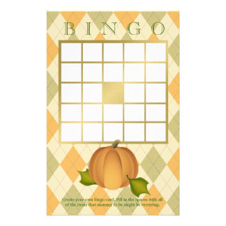 Harvest Pumpkin Argyle Baby Shower Bingo Stationery