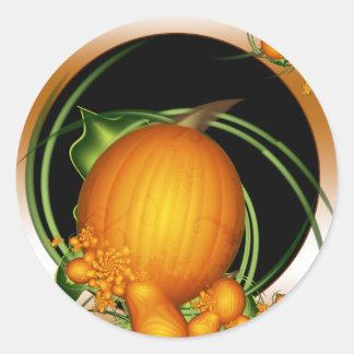 Harvest Pumpkin on Black Round Sticker