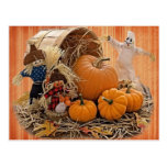 Harvest Scarecrows and Ghost Postcard