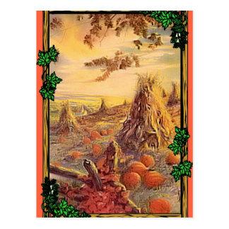 Harvest stooks and pumpkins postcard