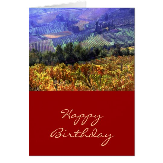 Harvest Time at the Vineyard Birthday Card