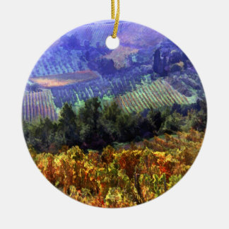 Harvest Time at the Vineyard Round Ceramic Decoration