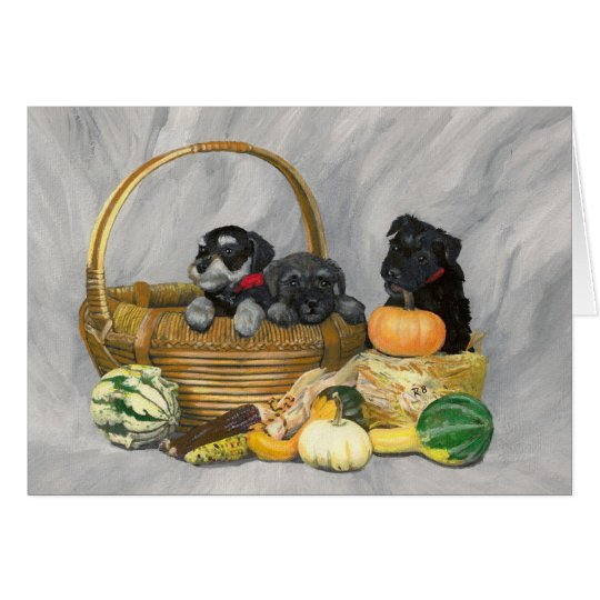 """""""Harvest Time"""" schnauzer puppies card. Card"""