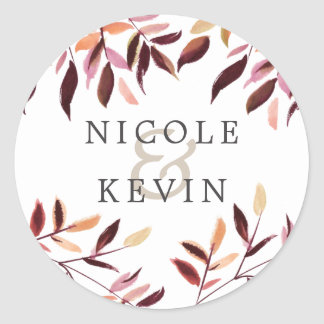 Harvest | Watercolor Foliage Wedding Classic Round Sticker