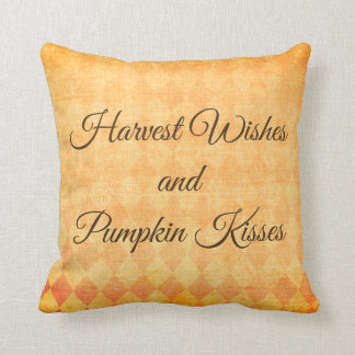 Harvest Wishes and Pumpkin Kisses - Orange Pillow