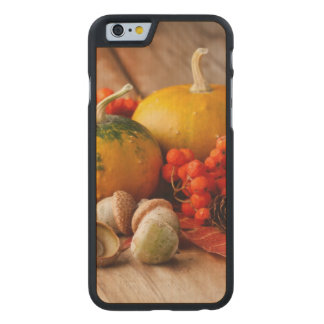 Harvested pumpkins with fall leaves 2 carved maple iPhone 6 case