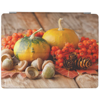 Harvested pumpkins with fall leaves 2 iPad cover