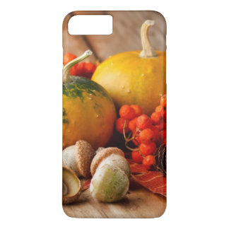 Harvested pumpkins with fall leaves 2 iPhone 7 plus case