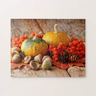 Harvested pumpkins with fall leaves jigsaw puzzle