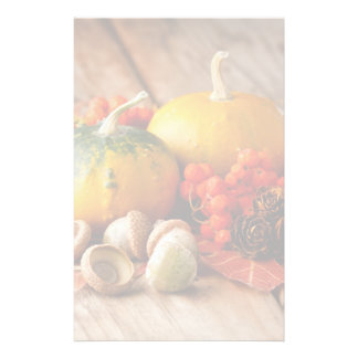 Harvested pumpkins with fall leaves stationery