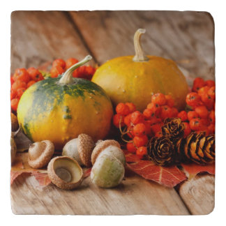 Harvested pumpkins with fall leaves trivet