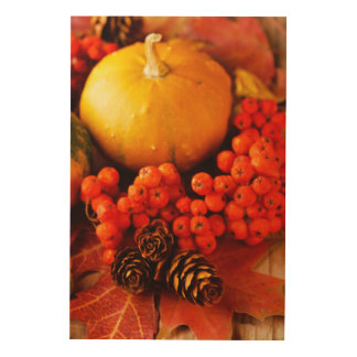 Harvested pumpkins with fall leaves wood prints