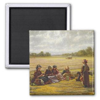 Harvesters resting in the Sun, Berkshire, 1865 Square Magnet