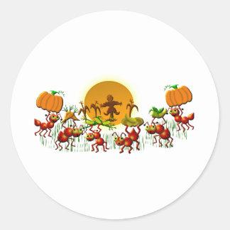 harvesting ants classic round sticker