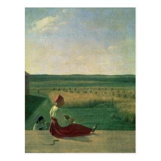 Harvesting in Summer, 1820s Postcard