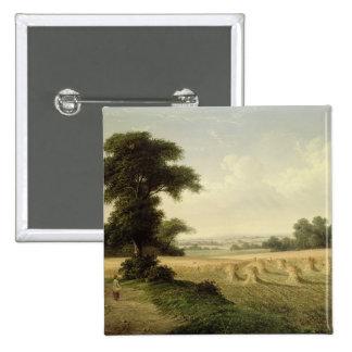 Harvesting (oil on canvas) 15 cm square badge