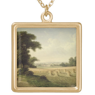 Harvesting oil on canvas necklace