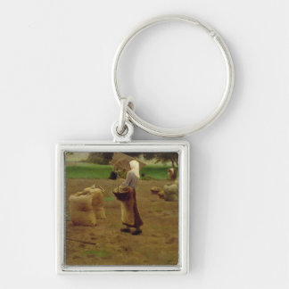 Harvesting Potatoes Silver-Colored Square Key Ring