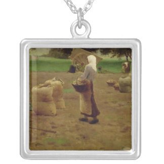 Harvesting Potatoes Silver Plated Necklace