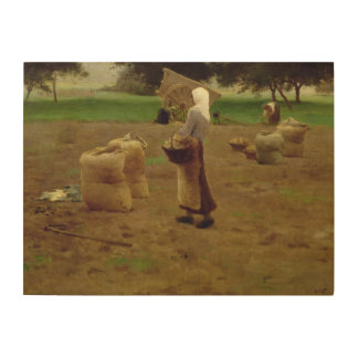 Harvesting Potatoes Wood Canvases