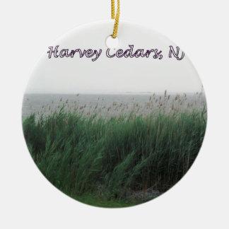 Harvey Cedars, NJ:  Bay with Green Grass/Reeds Christmas Ornament