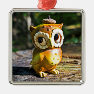 Harvey the Owl III Silver-Colored Square Decoration
