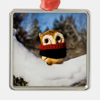 Harvey the Owl IV Silver-Colored Square Decoration
