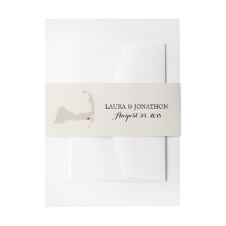 Harwich Cape Cod Map with heart | Wedding Invitation Belly Band
