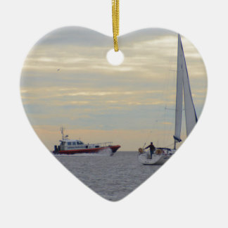 Harwich Haven Pilot Boat At Sea Christmas Ornaments