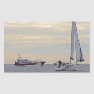 Harwich Haven Pilot Boat At Sea Rectangular Sticker