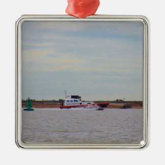 Harwich Haven Pilot Boat Silver-Colored Square Decoration