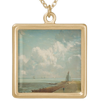 Harwich, The Low Lighthouse and Beacon Hill, c.182 Square Pendant Necklace