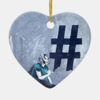 Hash tag Graffiti Ceramic Heart Decoration