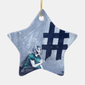 Hash tag Graffiti Ceramic Star Decoration