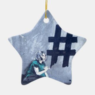 Hash tag Graffiti Christmas Ornament