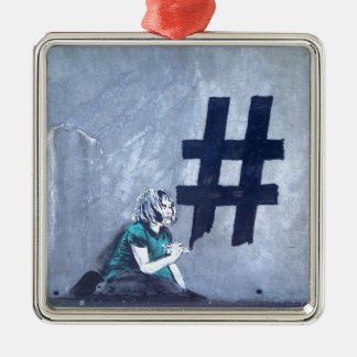 Hash tag Graffiti Silver-Colored Square Decoration