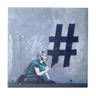 Hash tag Graffiti Small Square Tile