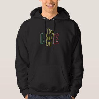 Hash tag life rasta colours black hoodie