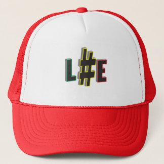 Hash tag life rasta colours trucker cap