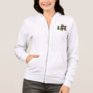 Hash tag life rasta colours womens zip hoodie wht