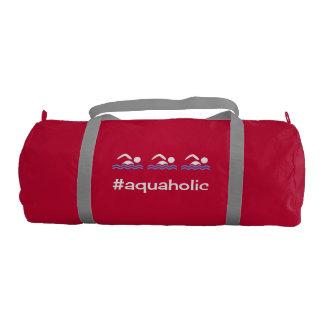 Hashtag aquaholic slogan swimming gym duffel bag