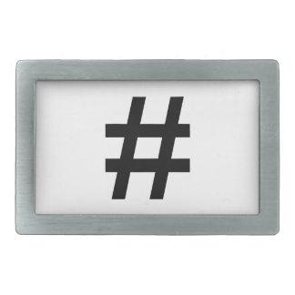 #HASHTAG - Black Hash Tag Symbol Rectangular Belt Buckles