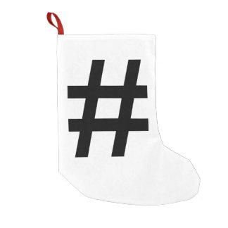 #HASHTAG - Black Hash Tag Symbol Small Christmas Stocking