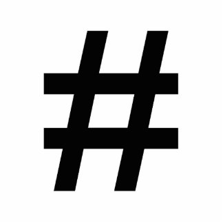 #HASHTAG - Black Hash Tag Symbol Standing Photo Sculpture
