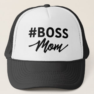 Hashtag #BOSS MOM Typography Trucker Hat