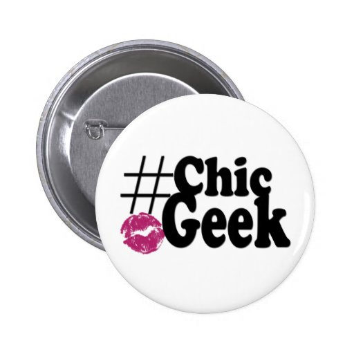 Hashtag Chic Geek Kiss Art Gifts Pinback Button