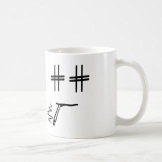# Hashtag Dude Cartoon Face ANY COLOR Social Media Basic White Mug