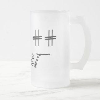 # Hashtag Dude Cartoon Face Funny Social Media Frosted Glass Mug