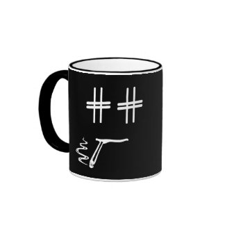 # Hashtag Dude Cartoon Face Funny Social Media Ringer Mug