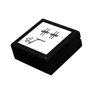 Hashtag Dude Cartoon Face with Hashtag Eyes Funny Small Square Gift Box